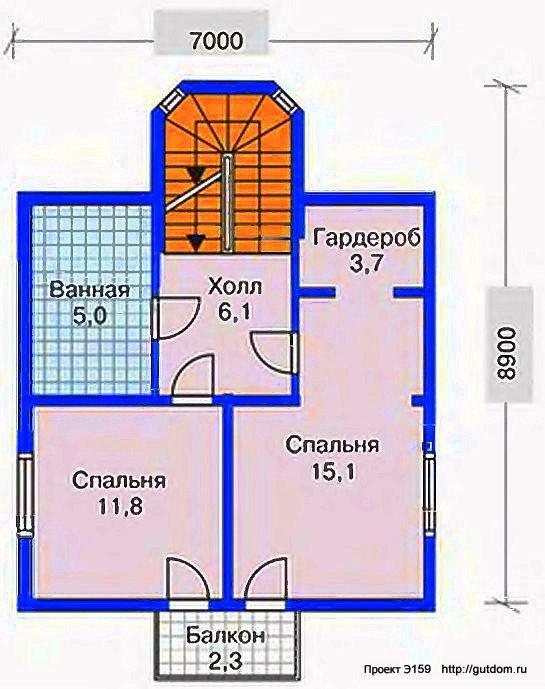 Проект Э159 дом, коттедж - Терем Общая площадь 142,1 м2