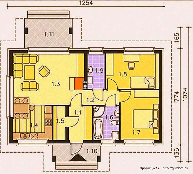 Проект Э217 одноэтажный дом - коттедж Общая площадь 77,5 м2