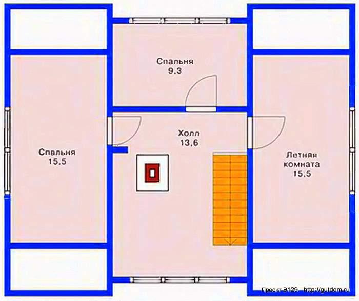 Проект Э129 - Дом Коттедж с мансардой Общая площадь 86 м2
