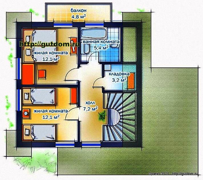 Проект Э171 дом каркасный двухэтажный Общая площадь 88,3 м2