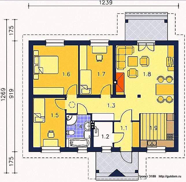 Проект Э189 одноэтажный каркасный дом Общая площадь 93 м2