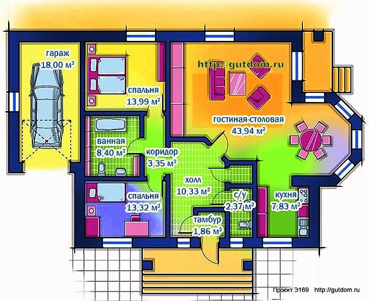 Проект Э169 дом каркасный одноэтажный Общая площадь 105 м2