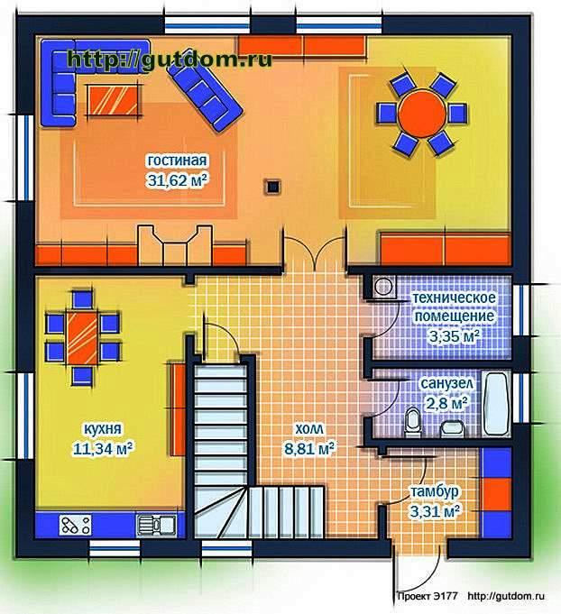 Проект Э177 дом каркасный двухэтажный Общая площадь 126,7 м2