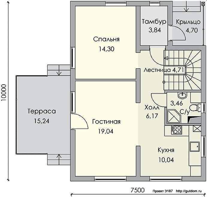 Проект Э187 двухэтажный дом - коттедж Общая площадь 142,8 м2