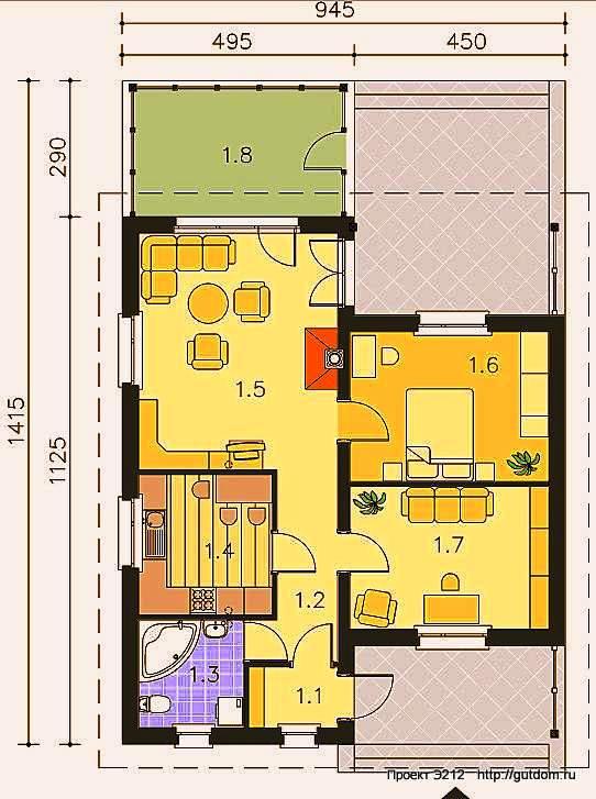 Проект Э212 одноэтажный дом - коттедж Общая площадь 81,9 м2