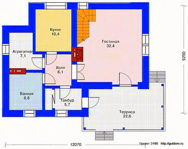Проект Э160 дом, коттедж с мансардой Общая площадь 164,7 м2