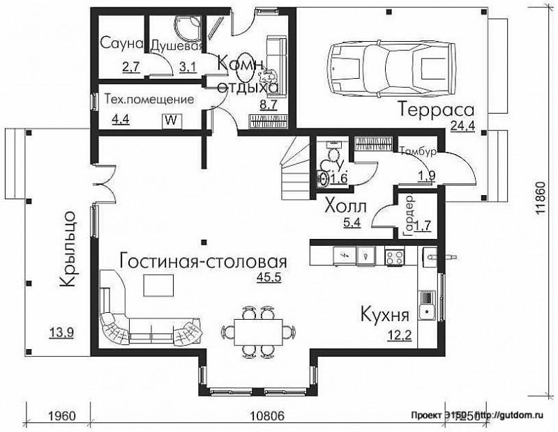 Проект Э150 дом коттедж с мансардой Общая площадь 149,9 м2