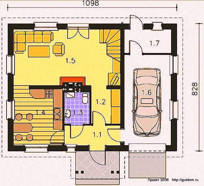 Проект Э206 дом - коттедж с мансардой Общая площадь 128,8 м2