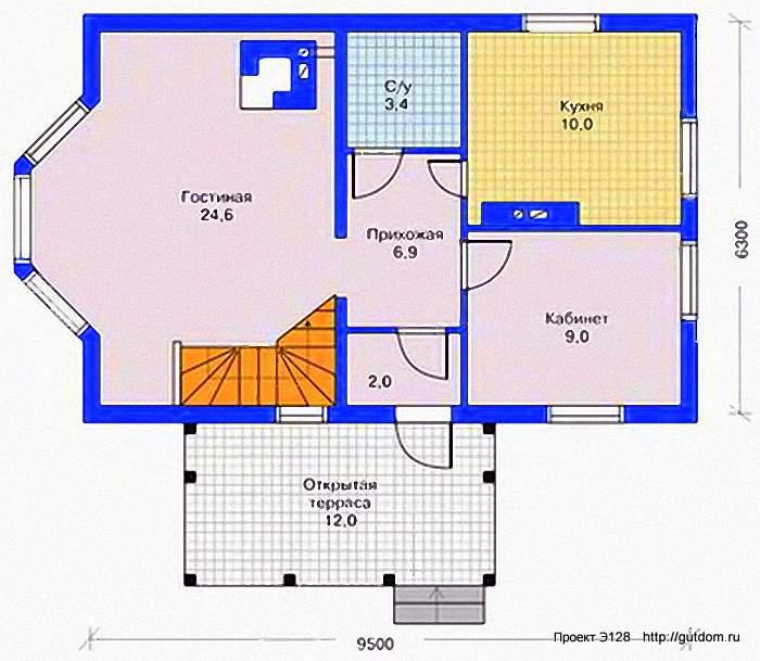 Проект Э128 - двухэтажный Дом Коттедж Общая площадь 96,2 м2