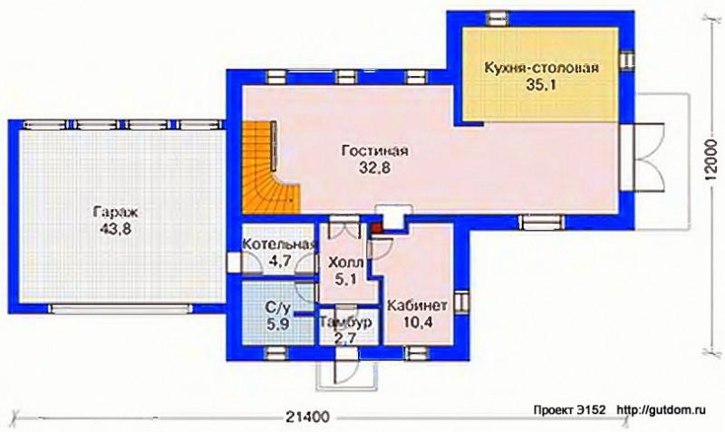 Проект Э152 дом коттедж с мансардой Общая площадь 212,1 м2