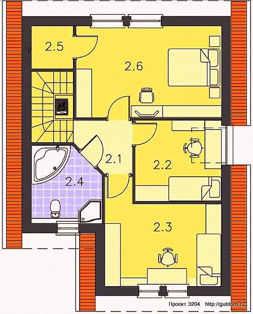 Проект Э204 дом - коттедж с мансардой Общая площадь 100,4 м2