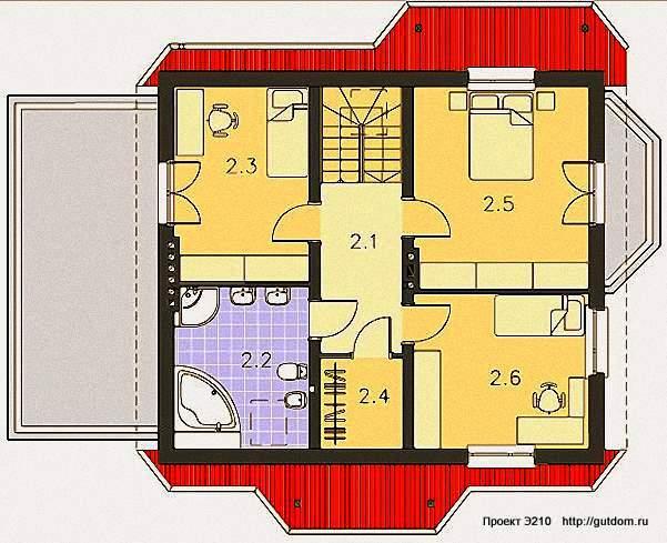 Проект Э210 дом - коттедж с мансардой Общая площадь 146,1 м2