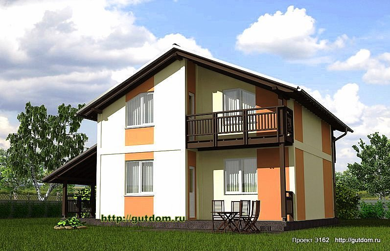 Проект Э162 дом коттедж с мансардой Общая площадь 116,3 м2