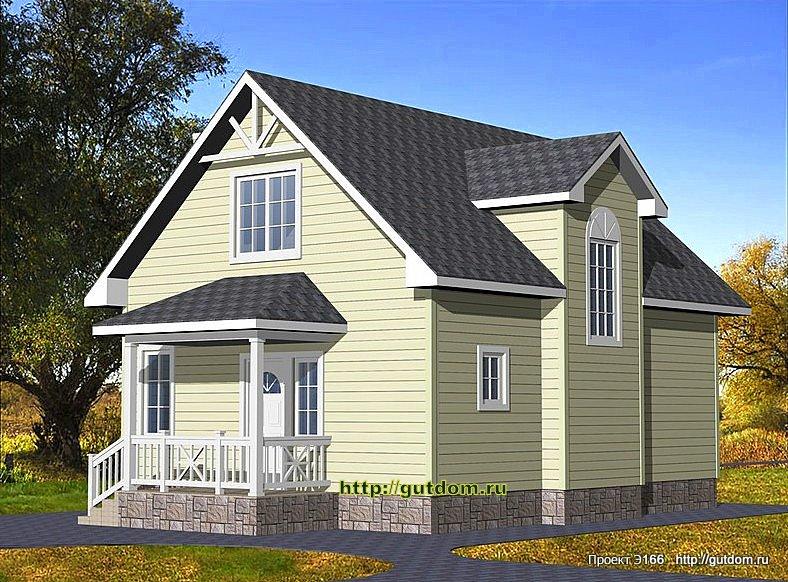 Проект Э166 дом коттедж с мансардой Общая площадь 108 м2