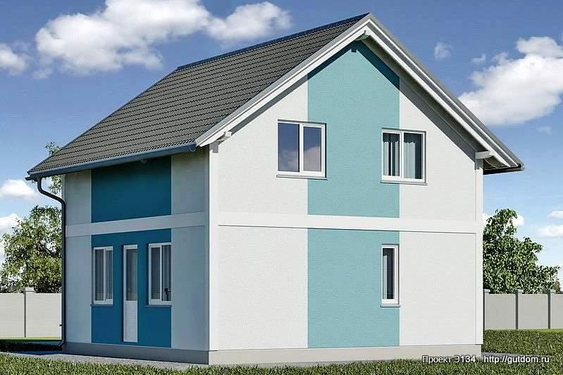 Проект Э134 дом, коттедж с мансардой Общая площадь 95.6 м2