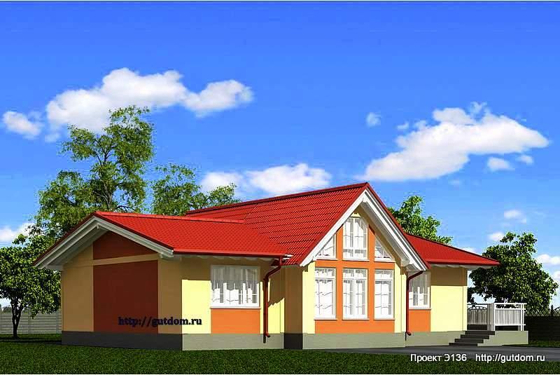 Проект Э136 дом, коттедж одноэтажный Общая площадь 106.5 м2