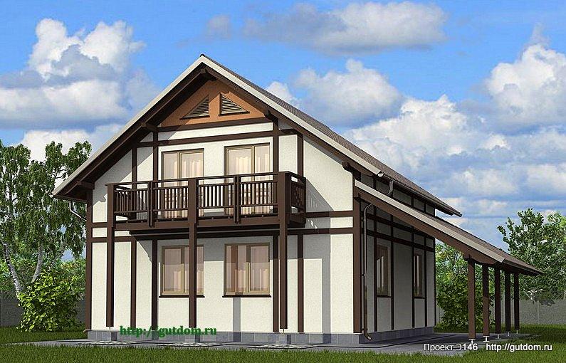 Проект Э146 дом, коттедж с мансардой Общая площадь 129,7 м2