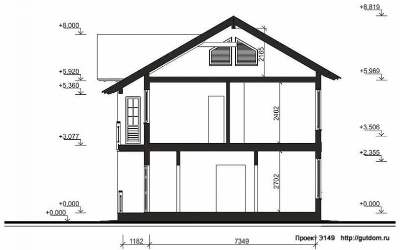 Проект Э149 дом коттедж с мансардой Общая площадь 142,8 м2