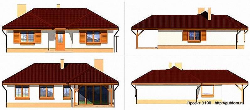 Проект Э190 одноэтажный каркасный дом Общая площадь 84,7 м2