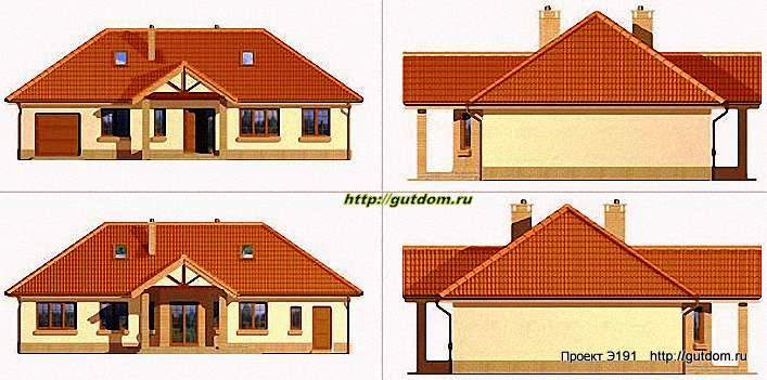 Проект Э191 одноэтажный каркасный дом Полезная площадь 109,1 м2