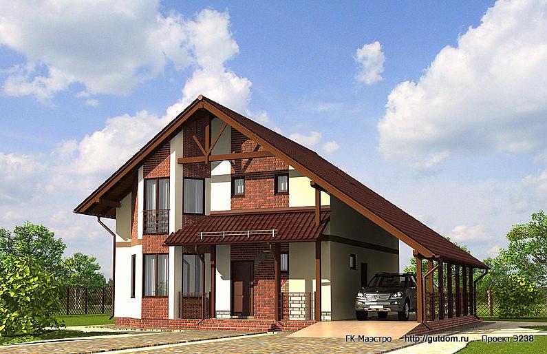 Проект Э238 дом с мансардой Общая площадь 165,4 м2
