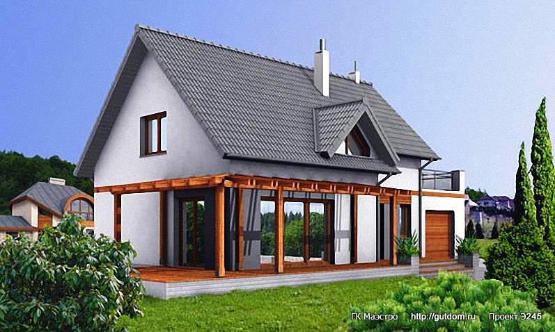 Проект Э245 дом - коттедж с мансардой Общая площадь 146,0 м2