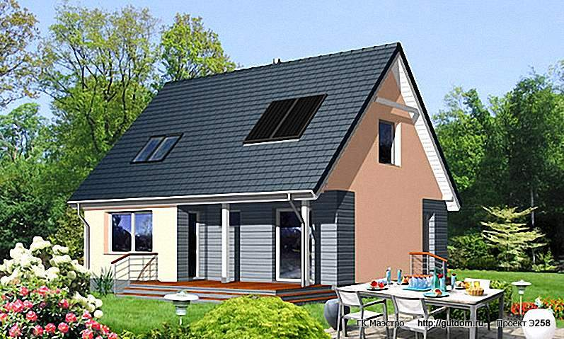 Проект Э258 дом - коттедж с мансардой Общая площадь 99,9 м2
