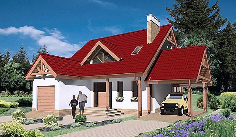 Проект Э268 дом с мансардой и гаражом Общая площадь 123,4 м2