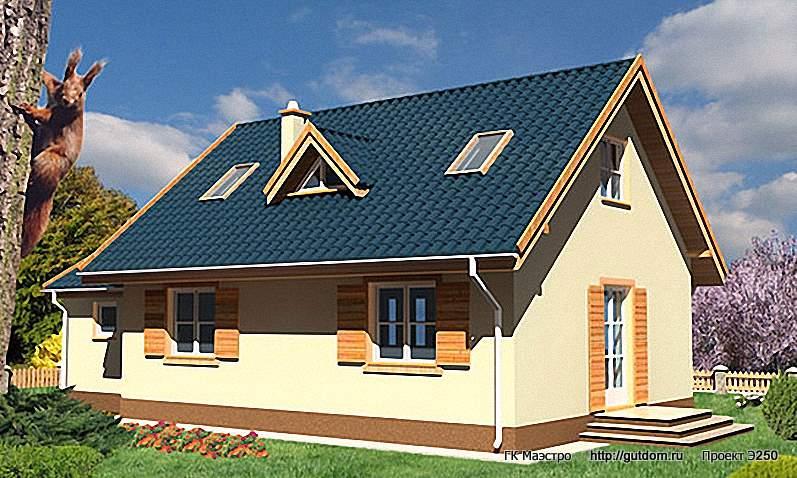 Проект Э250 дом - коттедж с мансардой Общая площадь 103,6 м2