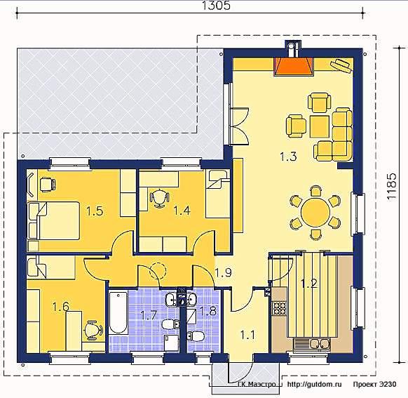 Проект Э230 одноэтажный дом - коттедж Общая площадь 100,6 м2