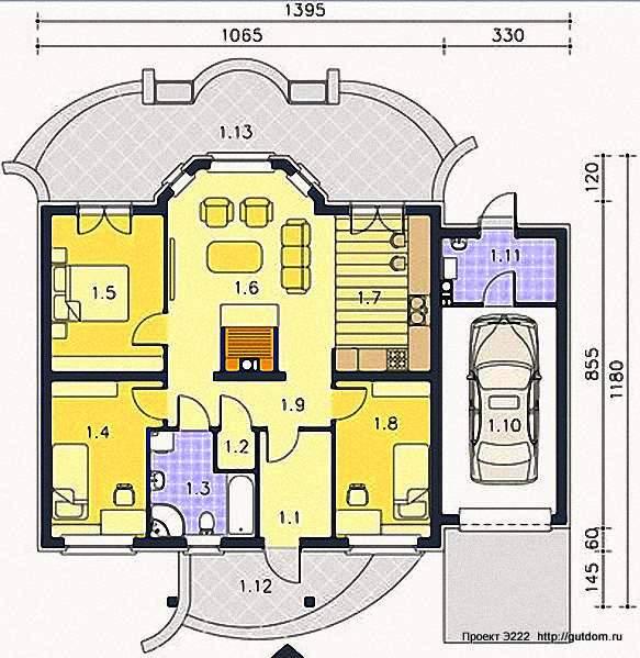 Проект Э222 одноэтажный дом - коттедж Общая площадь 104,3 м2