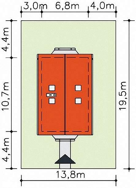 Проект Э271 дом с мансардой для узкого участка Общая площадь 110,3 м2