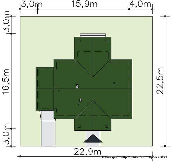Проект Э229 одноэтажный дом - коттедж Общая площадь 120,7 м2