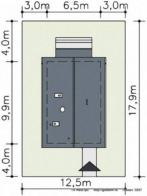 Проект Э257 дом для узкого участка Общая площадь 92,5 м2