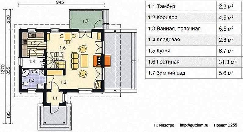 Проект Э255 дом с мансардой и зимним садом - оранжереей Общая площадь 97,8 м2