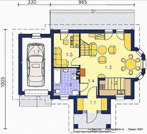 Проект Э247 дом - коттедж с мансардой Общая площадь 91,1 м2