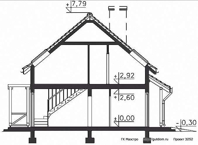 Проект Э252 дом - коттедж с мансардой Общая площадь 85,8 м2