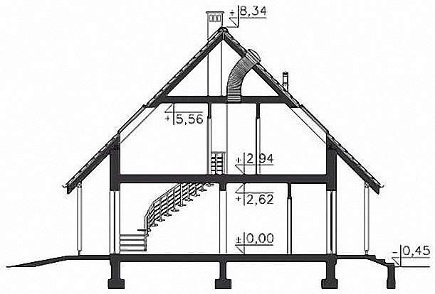 Проект Э270 дом с мансардой и гаражом Общая площадь 128,5 м2