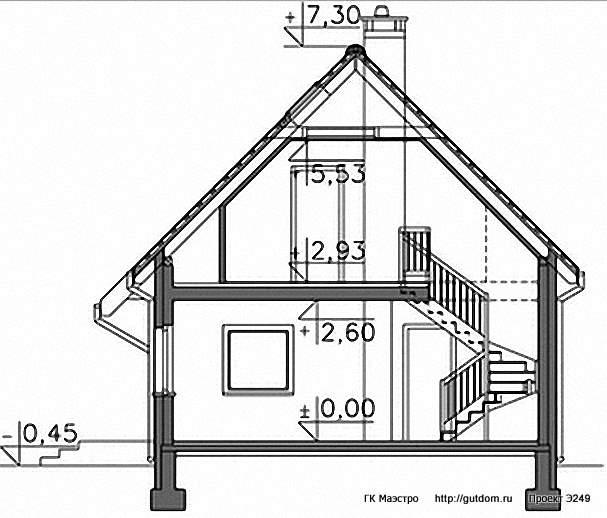 Проект Э249 дом - коттедж с мансардой Общая площадь 92,8 м2