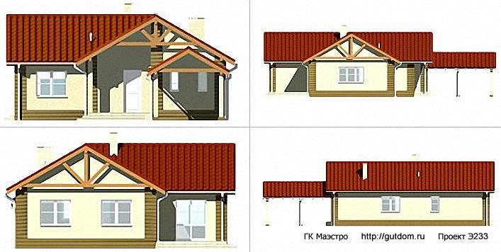 Проект Э233 одноэтажный дом - коттедж Общая площадь 111,8 м2