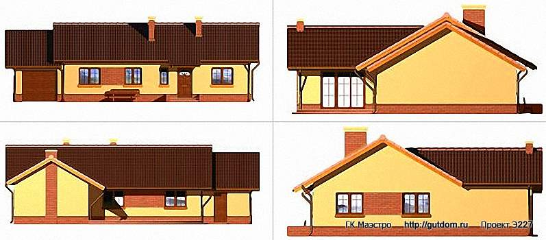 Проект Э227 одноэтажный дом - коттедж Общая площадь 120,3 м2