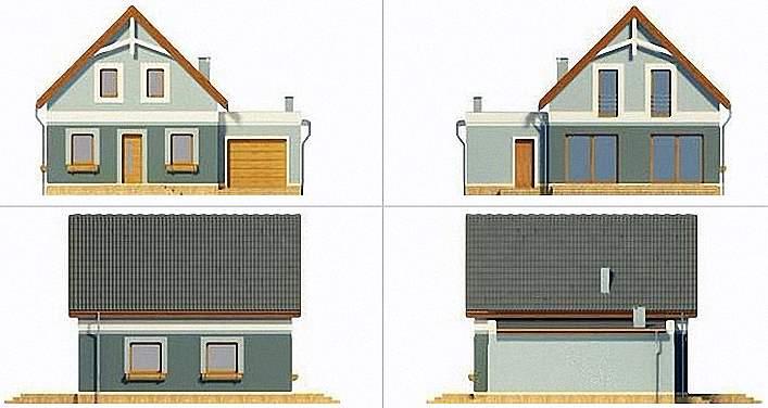Проект Э266 дом с мансардой и гаражом Общая площадь 125,9 м2
