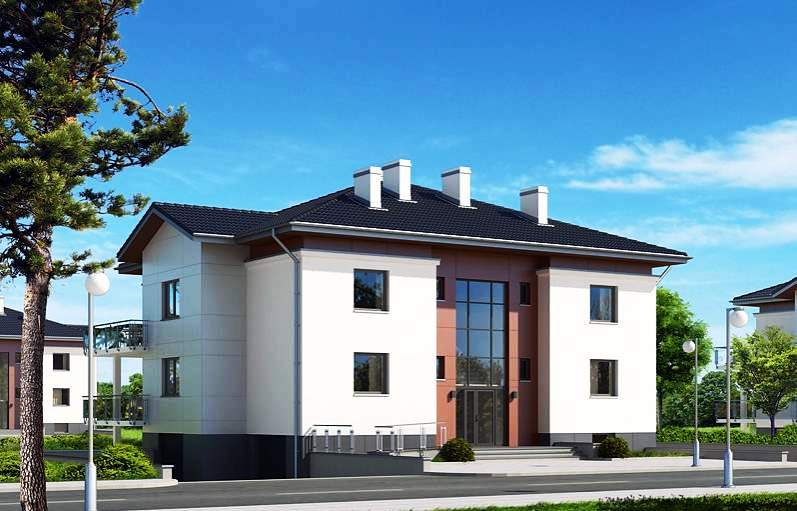 двухэтажный многоквартирный дом