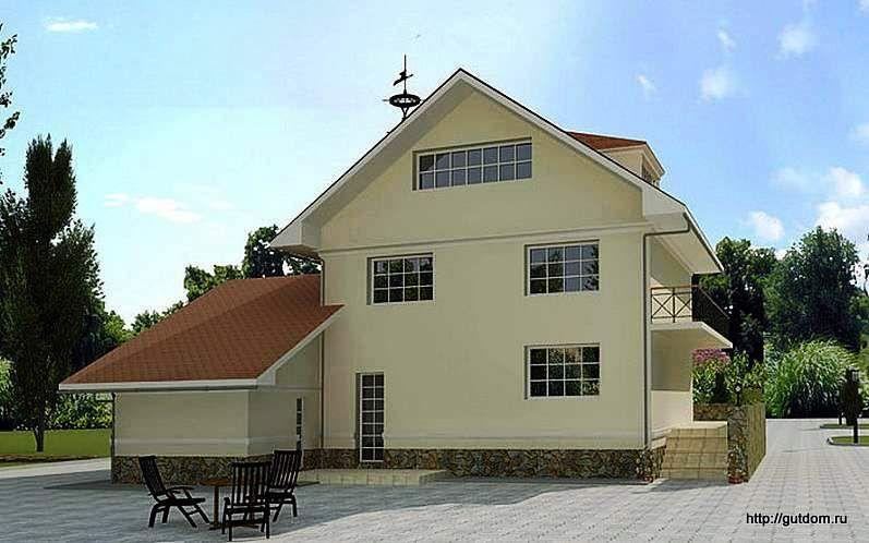 Двухэтажный коттедж с мансардой