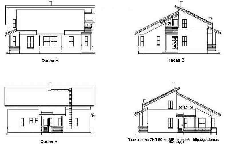 фасады двухэтажного дома