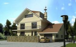 Двухэтажный дом с гаражом из газоблоков, Проект ГБ15, эскиз 1