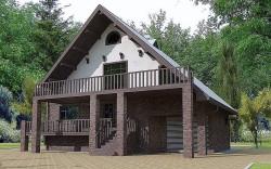 Дом одноэтажный с мансардой из газосиликатных блоков, Эскизный Проект ГБ14