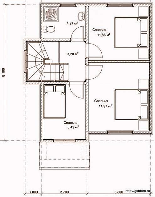 План второго этажа дома, Проект СИП 122
