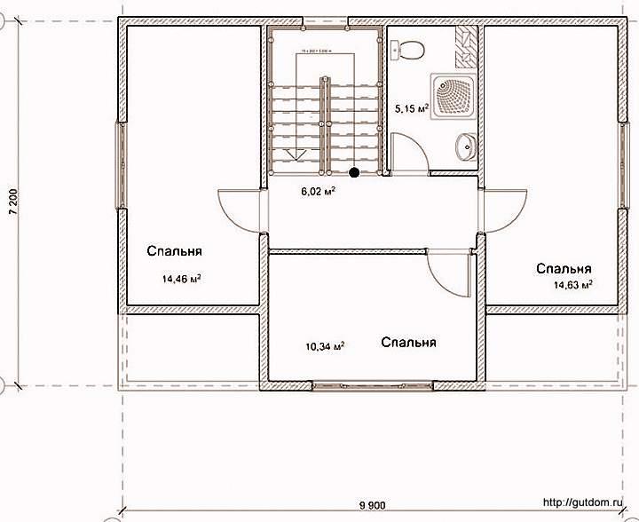 План второго этажа дома, Проект СИП 125