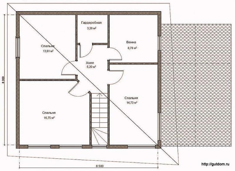 План второго этажа дома, Проект СИП 130